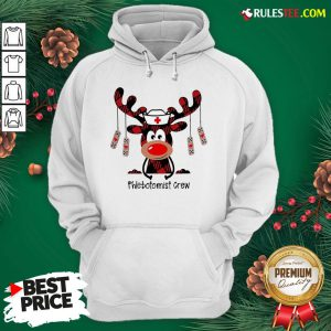 Perfect Plaid Reindeer Phlebotomist Crew Christmas Hoodie - Design By Rulestee.com
