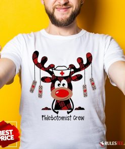 Perfect Plaid Reindeer Phlebotomist Crew Christmas Shirt - Design By Rulestee.com