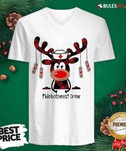 Perfect Plaid Reindeer Phlebotomist Crew Christmas V-neck - Design By Rulestee.com