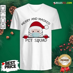 Perfect Santa Face Mask Merry And Masked Pct Squad Christmas V-neck - Design By Rulestee.com