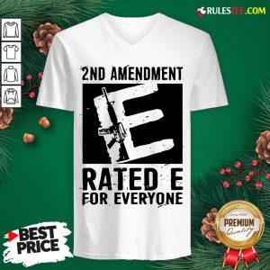Premium 2nd Amendment Rated E For Everyone V-neck - Design By Rulestee.com