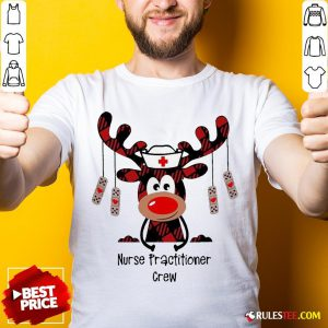 Pretty Plaid Reindeer Nurse Practitioner Crew Christmas Shirt - Design By Rulestee.com