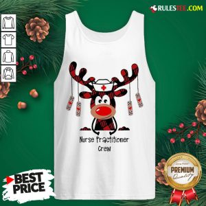 Pretty Plaid Reindeer Nurse Practitioner Crew Christmas Tank Top - Design By Rulestee.com