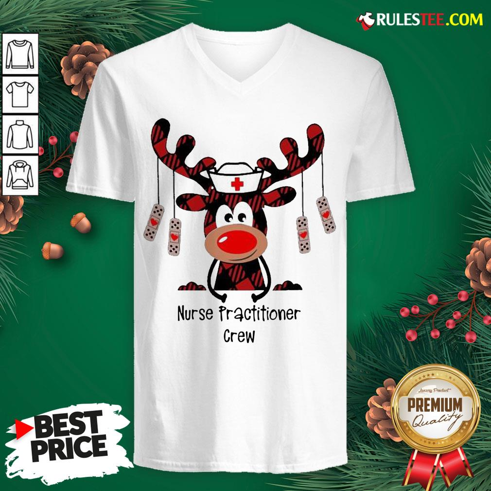 Pretty Plaid Reindeer Nurse Practitioner Crew Christmas V-neck - Design By Rulestee.com