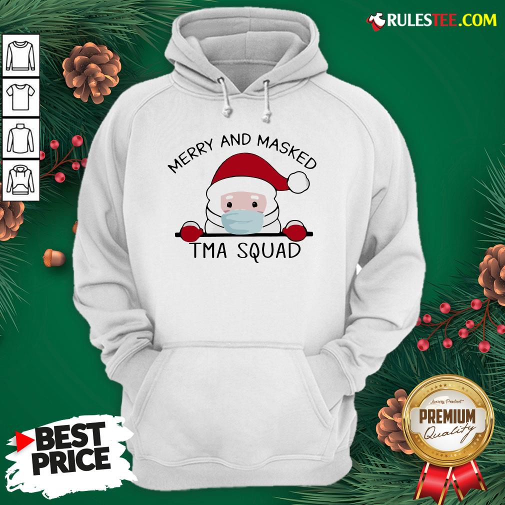 Pretty Santa Face Mask Merry And Masked Tma Squad Christmas Hoodie - Design By Rulestee.com