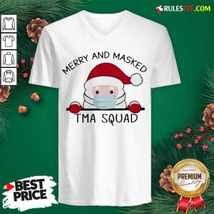 Pretty Santa Face Mask Merry And Masked Tma Squad Christmas V-neck - Design By Rulestee.com