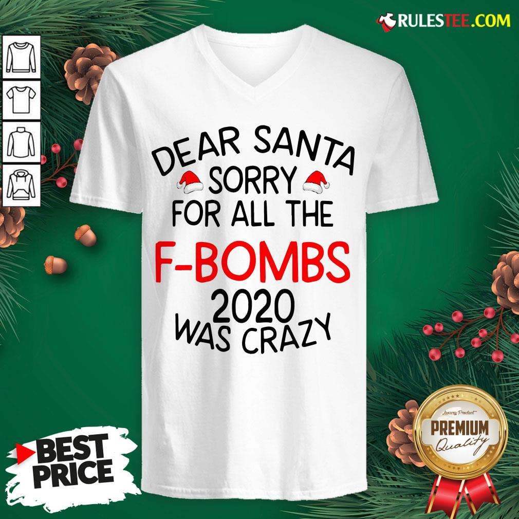 Top Dear Santa Sorry For All The F-bombs 2020 Was Crazy V-neck - Design By Rulestee.com