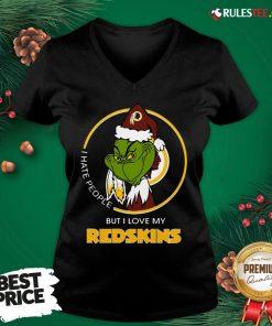 Top Grinch I Hate People But I Love My Redskins V-neck- Design By Rulestee.com