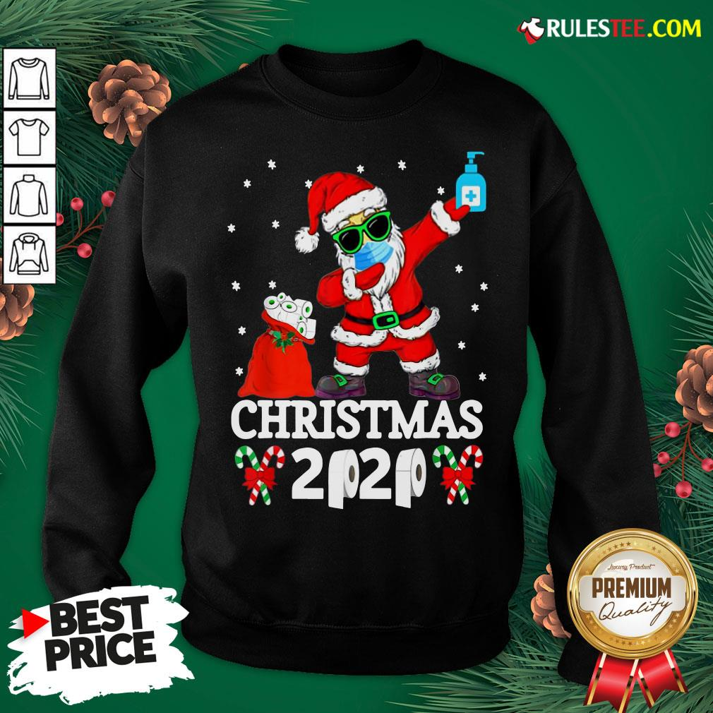 Top Santa Claus Dabbing Wine And Toilet Paper Christmas 2020 Sweatshirt - Design By Rulestee.com