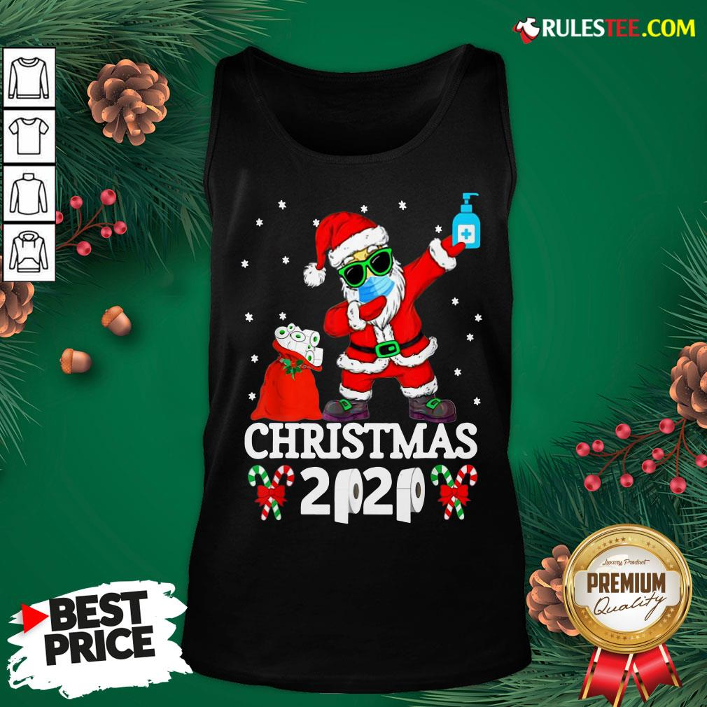 Top Santa Claus Dabbing Wine And Toilet Paper Christmas 2020 Tank Top - Design By Rulestee.com