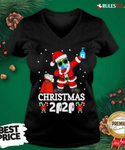 Top Santa Claus Dabbing Wine And Toilet Paper Christmas 2020 V-neck - Design By Rulestee.com