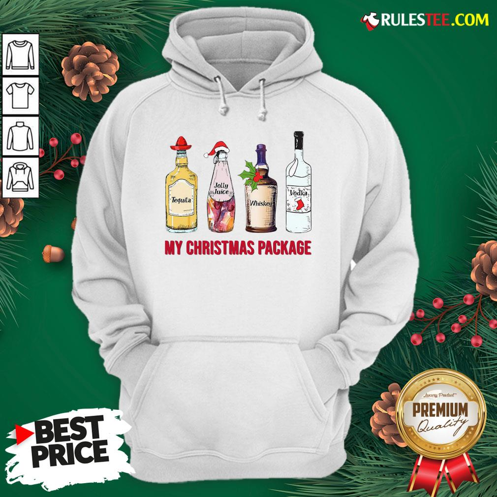 Top Santa Tequila Jolly Juice Whiskey Vodka My Christmas Package Hoodie - Design By Rulestee.com