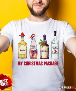 Top Santa Tequila Jolly Juice Whiskey Vodka My Christmas Package Shirt - Design By Rulestee.com