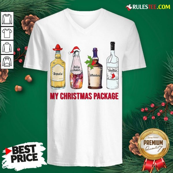 Top Santa Tequila Jolly Juice Whiskey Vodka My Christmas Package V-neck - Design By Rulestee.com