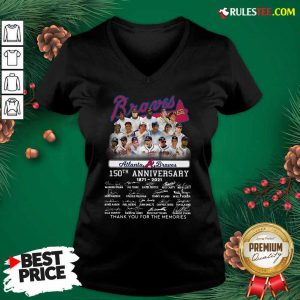 Atlanta Braves 150th Anniversary 1871 2021 Thank You For The Memories Signatures V-neck - Design By Rulestee.com