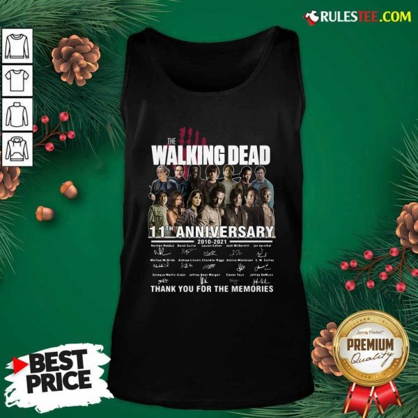 The Walking Dead 11th Anniversary 2010 2021 Thank You For The Memories Signatures Tank Top - Design By Rulestee.com