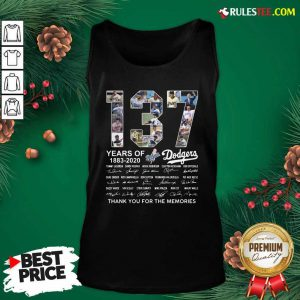 137 Years Of Los Angeles Dodgers 1883 2020 Thank You For The Memories Signatures Tank Top - Design By Rulestee.com