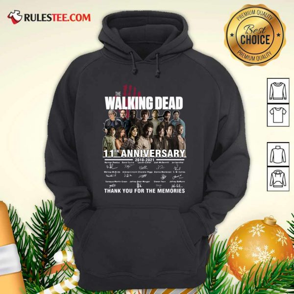 The Walking Dead 11th Anniversary 2010 2021 Thank You For The Memories Signatures Hoodie - Design By Rulestee.com