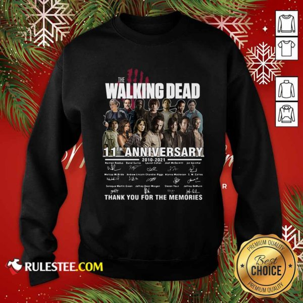 The Walking Dead 11th Anniversary 2010 2021 Thank You For The Memories Signatures Sweatshirt - Design By Rulestee.com
