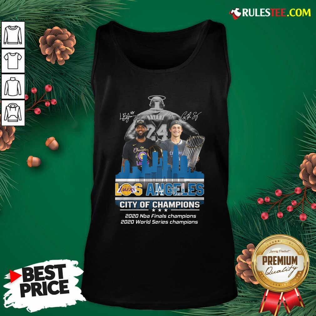Kobe Bryant LeBron James And Corey Seager Los Angeles Lakers Dodgers City Of Champions 2020 Signatures Tank Top - Design By Rulestee.com