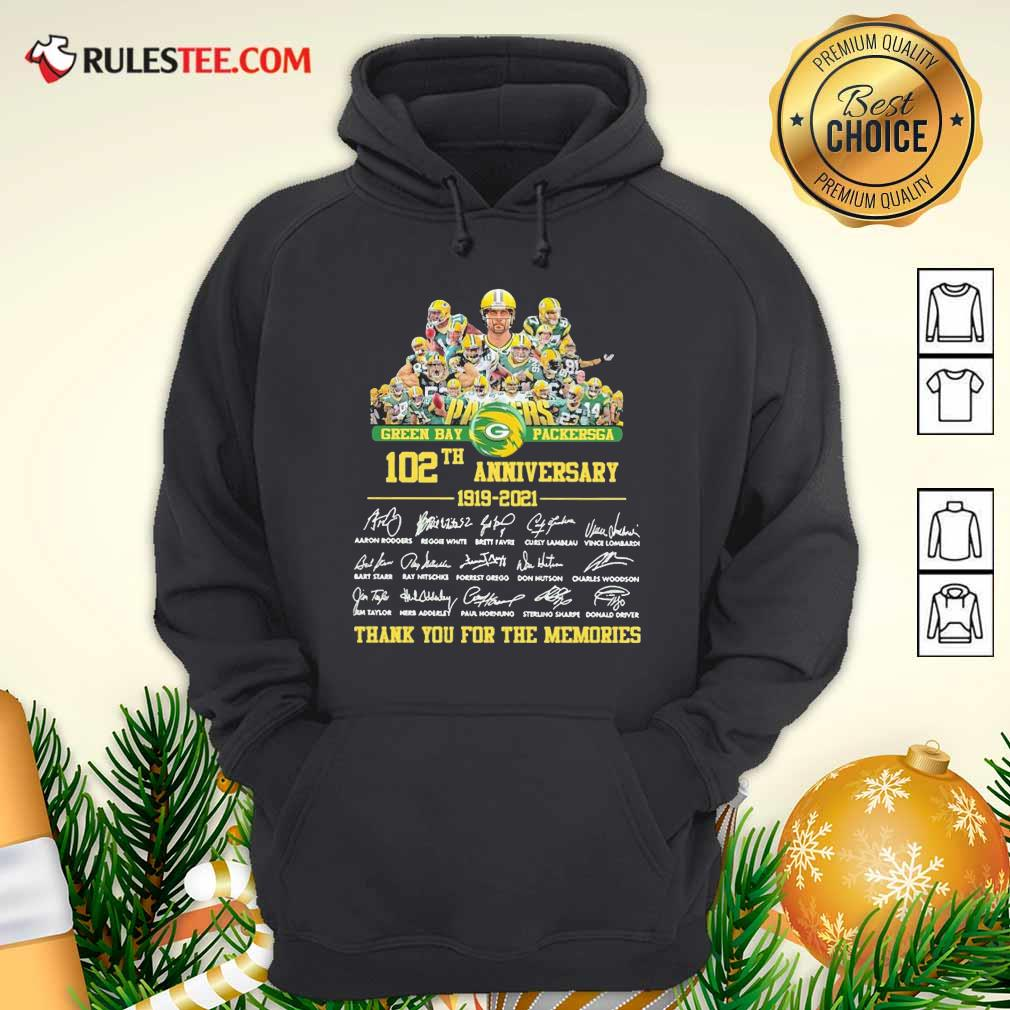 Green Bay Packersga 120th Anniversary 1919 2021 Thank You For The Memories Signatures Hoodie - Design By Rulestee.com