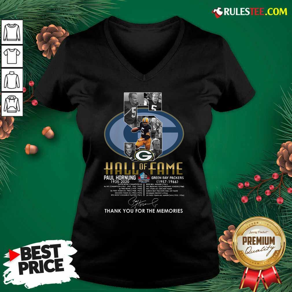 Green Bay Packers 5 Paul Hornung 1935 2020 Hall Of Fame Thank You For The Memories Signature V-neck - Design By Rulestee.com