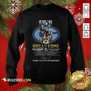 Green Bay Packers 5 Paul Hornung 1935 2020 Hall Of Fame Thank You For The Memories Signature Sweatshirt - Design By Rulestee.com