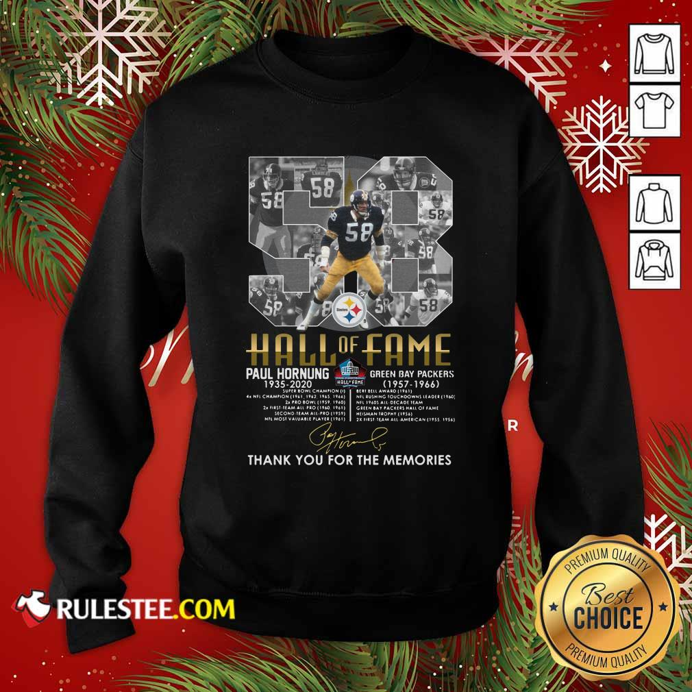 Hall Of Fame 58 Paul Hornung 1935 2020 Thank You For The Memories Signature Sweatshirt - Design By Rulestee.com