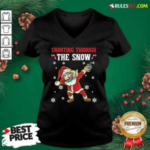 Snorting Through The Snow Dabbing Santa Claus Face Mask Toilet Paper Hand Sanitizer Christmas V-neck - Design By Rulestee.com