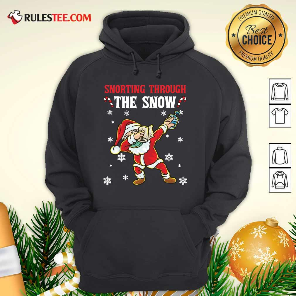 Snorting Through The Snow Dabbing Santa Claus Face Mask Toilet Paper Hand Sanitizer Christmas Hoodie - Design By Rulestee.com