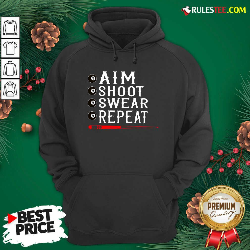 Awesome Aim Shoot Swear Repeat Billiards Christmas Hoodie  - Design By Rulestee.com