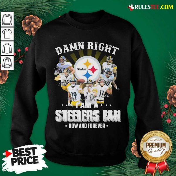 Best So Damn Right I Am A Pittsburgh Steelers Fan Now And Forever Signature Sweatshirt - Design By Rulestee.com