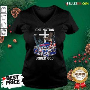 Buffalo Bills One Nation Under God American Flag V-neck - Design By Rulestee.com