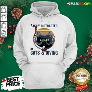 Easily Distracted By Cats And Diving Vintage Hoodie- Design By Rulestee.com