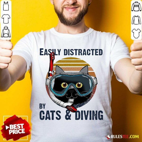 Easily Distracted By Cats And Diving Vintage Shirt- Design By Rulestee.com