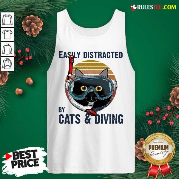 Easily Distracted By Cats And Diving Vintage Tank Top- Design By Rulestee.com