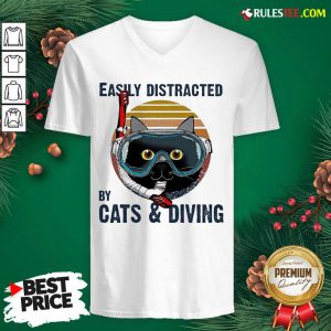 Easily Distracted By Cats And Diving Vintage V-neck- Design By Rulestee.com