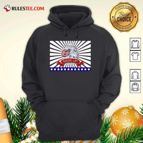 Mask Up Fun And Patriotic Bald Eagle American Flag Hoodie - Design By Rulestee.com