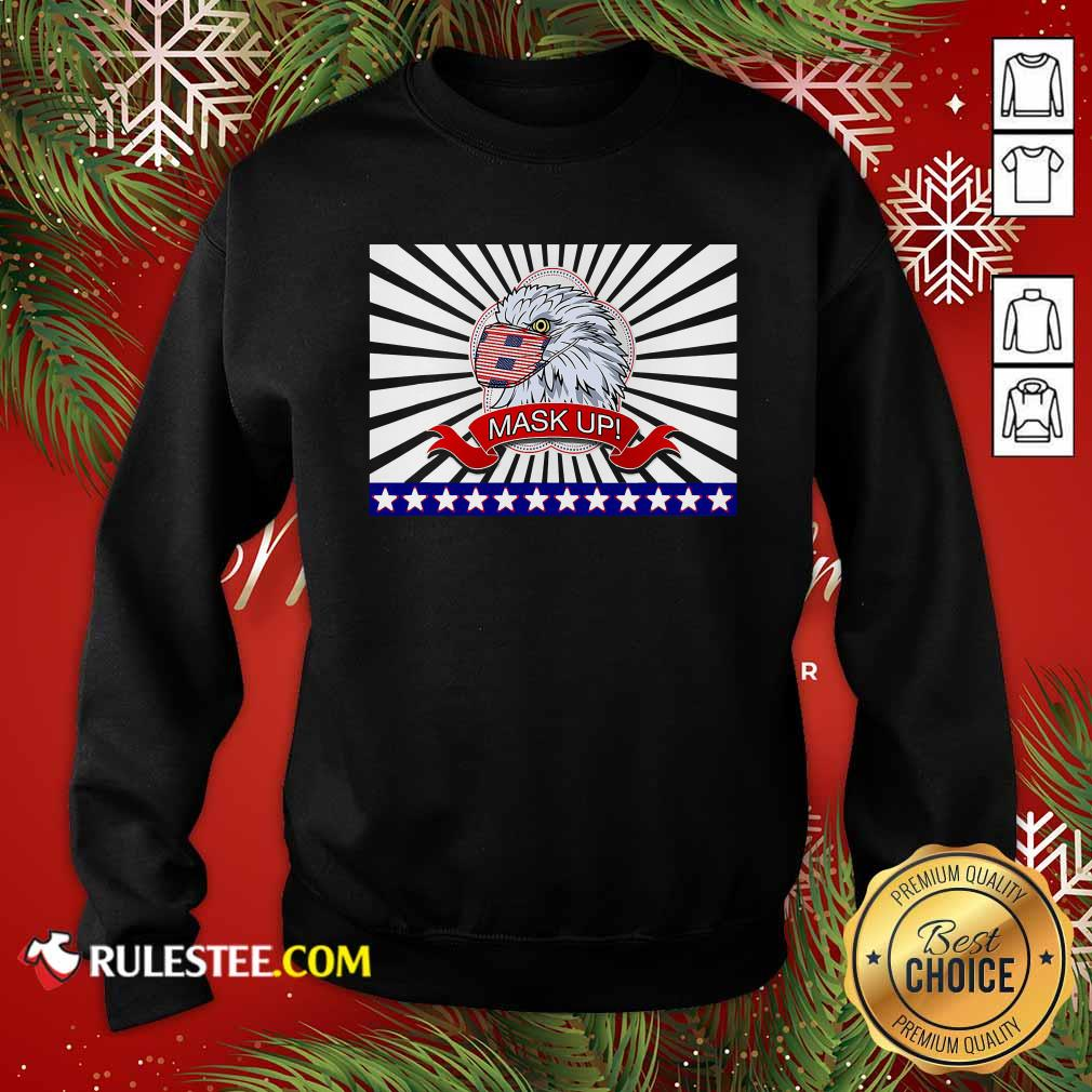Mask Up Fun And Patriotic Bald Eagle American Flag Sweatshirt - Design By Rulestee.com