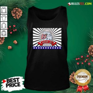 Mask Up Fun And Patriotic Bald Eagle American Flag Tank Top - Design By Rulestee.com
