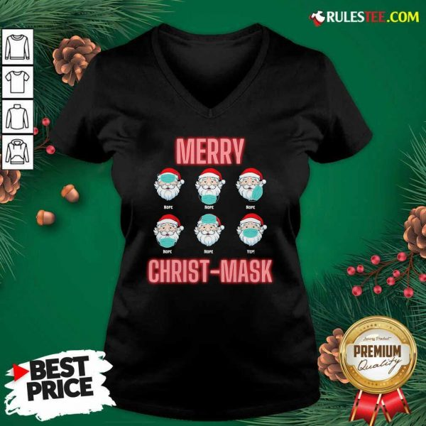 Merry Christmask Six Santa With Face Mask Covid V-neck - Design By Rulestee.com