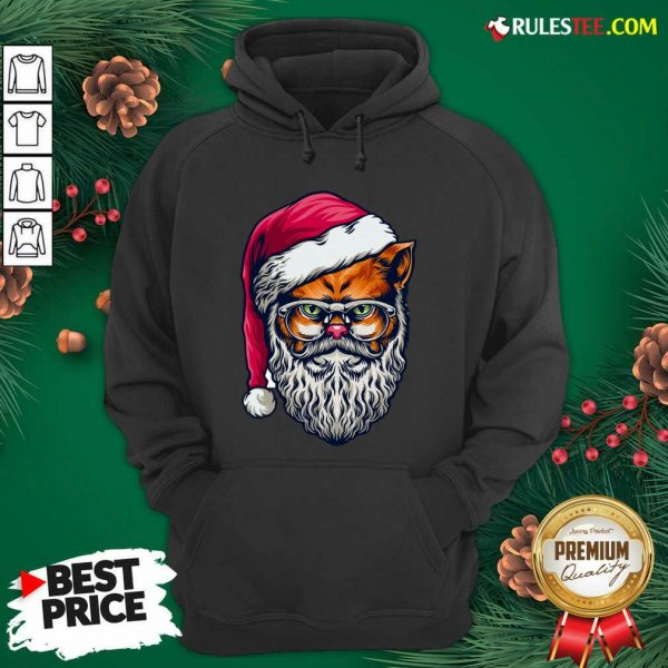 Funny Xmas Wildcat Santa Claus Christmas Wearing Glasses Hoodie - Design By Rulestee.com