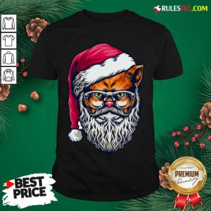 Funny Xmas Wildcat Santa Claus Christmas Wearing Glasses Shirt - Design By Rulestee.com
