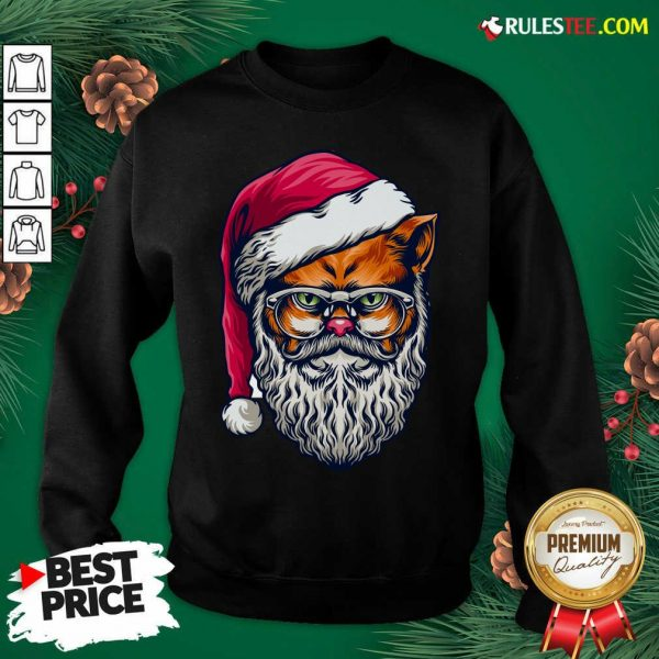 Funny Xmas Wildcat Santa Claus Christmas Wearing Glasses Swearshirt - Design By Rulestee.com