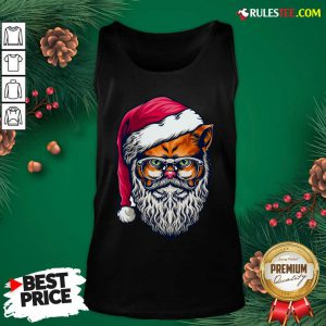 Funny Xmas Wildcat Santa Claus Christmas Wearing Glasses Tank Top - Design By Rulestee.com