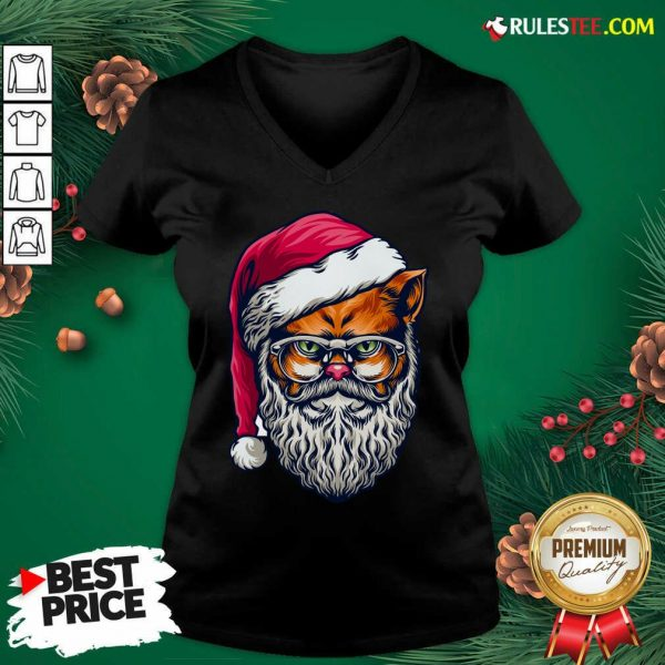Funny Xmas Wildcat Santa Claus Christmas Wearing Glasses V-neck - Design By Rulestee.com