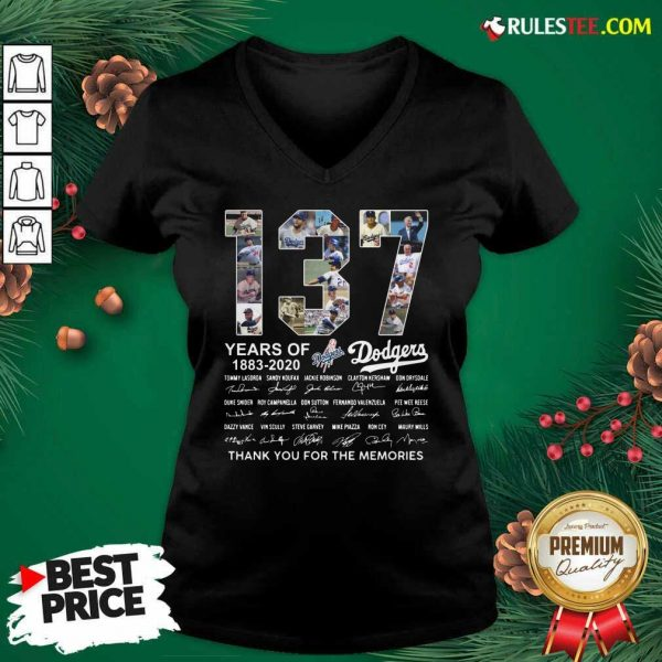 137 Years Of Los Angeles Dodgers 1883 2020 Thank You For The Memories Signatures V-neck - Design By Rulestee.com