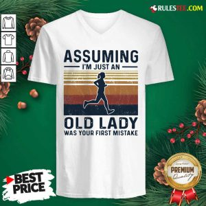 Assuming I'm Just An Old Lady Was Your First Mistake Vintage V-neck - Design By Rulestee.com