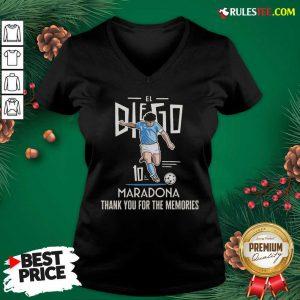 Good Diego Maradona El 10 Thank You For The Memories V-neck - Design By Rulestee.com
