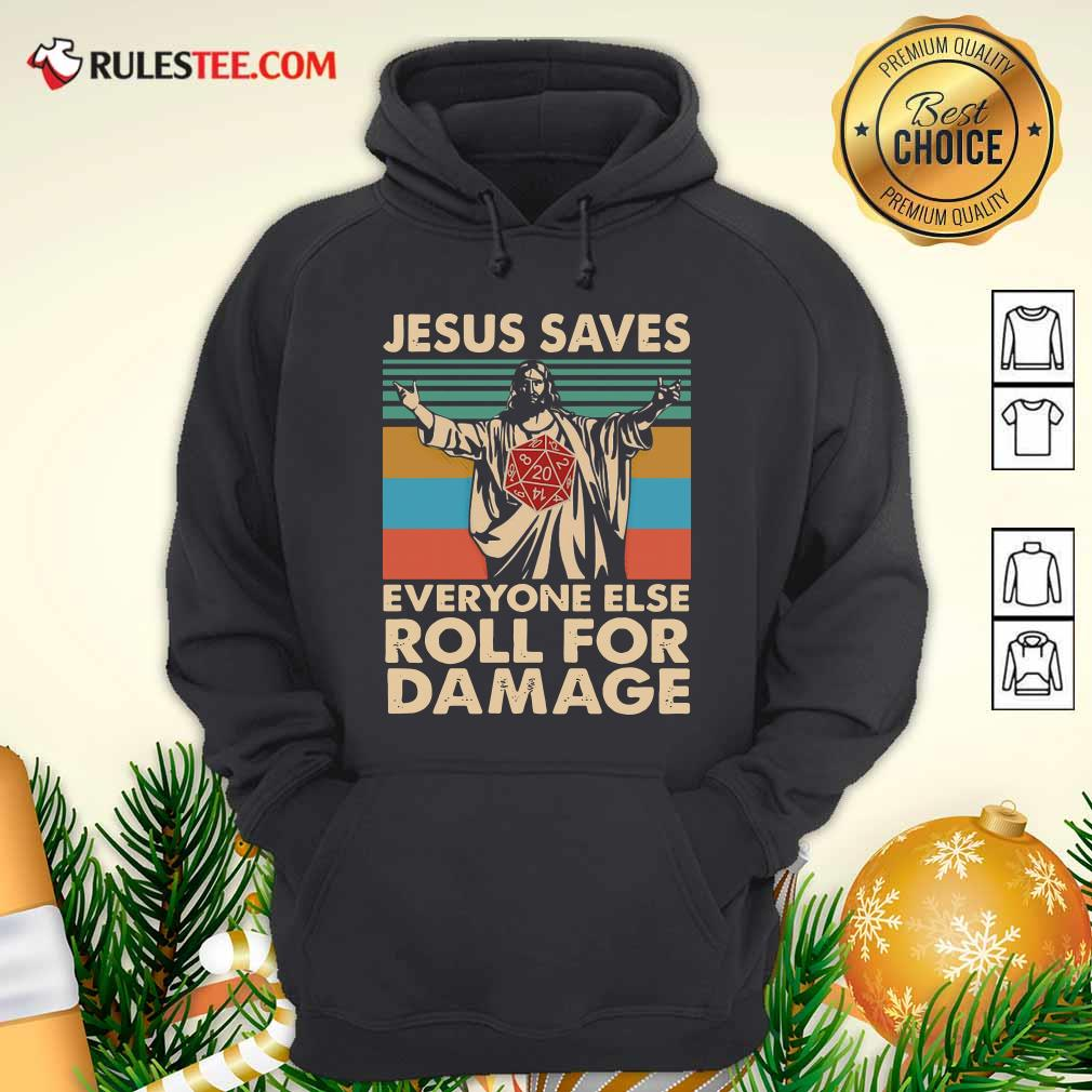 Jesus Saves Everyone Else Roll For Damage Vintage Retro Hoodie - Design By Rulestee.com